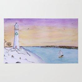 Winter Lighthouse At Sunset Rug