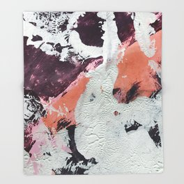 Taboo: a vibrant, abstract, mixed-media piece in purple, orange, and light blue Throw Blanket