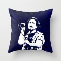 eddie vedder Throw Pillows featuring eddie vedder by yahtz designs