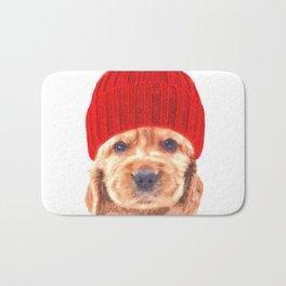 Cocker spaniel puppy with hat Bath Mat