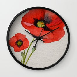 Watercolour Poppies Wall Clock