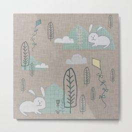 Cute Bunny woodland #nursery #homedecor Metal Print