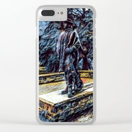 Stevie Ray Vaughan Statue - Austin, Texas - Graphic 1 Clear iPhone Case
