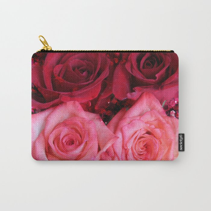 Glitter and Roses - Red and Pink Carry-All Pouch