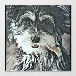 Puppy Rescue Sophie with Bone Canvas Print