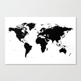 Black Ink World Map Canvas Print