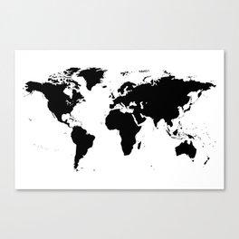 Black Ink World Map Canvas Print
