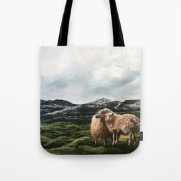 Sheep in moss fields Tote Bag
