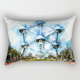 Atomium, Brussels, Aquarell Rectangular Pillow