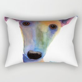 Nosey Dog Whippet Greyhound ' PANSY ' by Shirley MacArthur Rectangular Pillow
