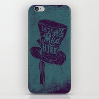alice in wonderland iPhone & iPod Skins featuring Alice in Wonderland by Drew Wallace
