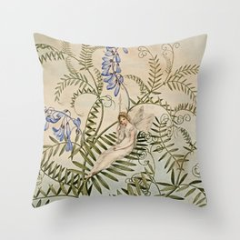 """""""Fairy Resting Among Flowers"""" by Amelia Jane Murray Throw Pillow"""