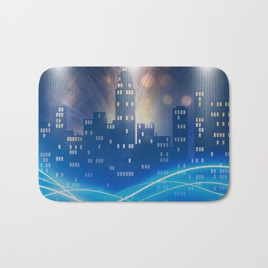 Neon city skyline by night metallic look print Bath Mat