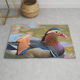 Beautiful Mandarin Duck at the Pond Rug