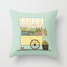 Veggie Cart on Mint Throw Pillow