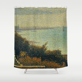 Hudson River, New York by Georges Seurat Shower Curtain
