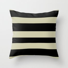 Natural Olive Green - Martinique Dawn - Asian Silk Hand Drawn Fat Horizontal Lines on Black Throw Pillow