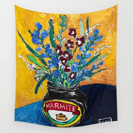 Wildflower Bouquet in Marmite Jar on Yellow and Blue Wall Tapestry