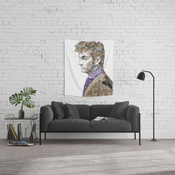 David Tennant Dr. Who Text portrait Wall Tapestry