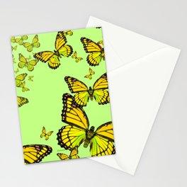 Decorative Yellow Monarch Butterflies Mint Green Art Stationery Cards