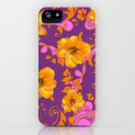 TROPICAL YELLOW & GOLD AMARYLLIS FLOWERS PATTERN iPhone Case