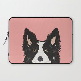 Border Collie pet portrait pink background dog lover art gifts Laptop Sleeve