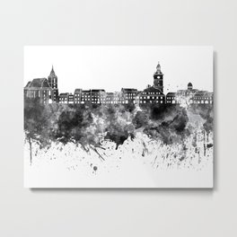 Brasov skyline in black watercolor on white background Metal Print