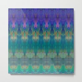 Tribal Diamonds Watercolour Blue Metal Print