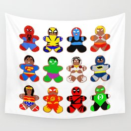 Superhero Gingerbread Man Wall Tapestry