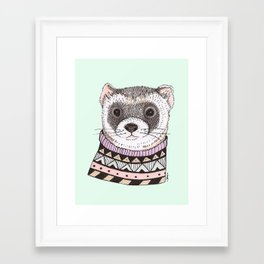 Hipster Ferret Framed Art Print