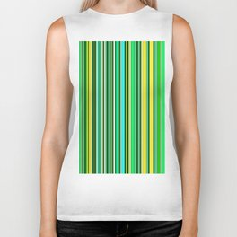 GREEN SPRING STRIPES Biker Tank