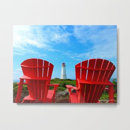 Lighthouse and chairs in Red White and Blue Metal Print