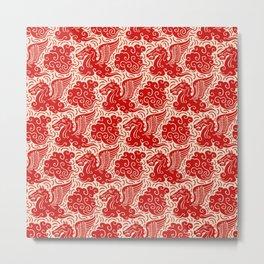 Pegasus Pattern Beige and Red Metal Print