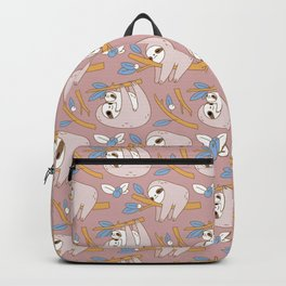 Sloth pattern in pink Backpack