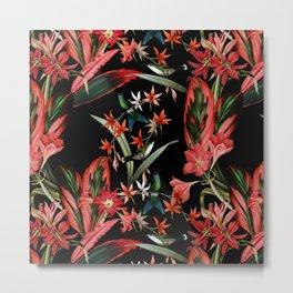 Vintage Midnight Tropical Summer Flower And Hummingbird Garden Metal Print