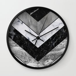 Shimmering mirage - grey marble chevron Wall Clock