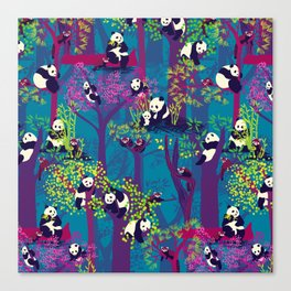Both Species of Panda - Blue Canvas Print