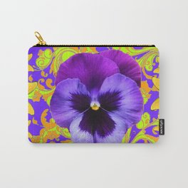 PURPLE PANSIES YELLOW BUTTERFLIES ABSTRACT FLORAL Carry-All Pouch