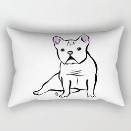 White Frenchie Rectangular Pillow