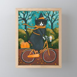 A Witchy Cat Autumn Bicycle Ride Framed Mini Art Print