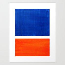 Colorful Bright Minimalist Rothko Orange And Blue Midcentury Modern Art Vintage Pop Art Art Print