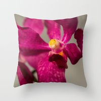orchid Throw Pillows featuring Orchid by Michelle McConnell