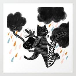 back to school cat illustration Art Print