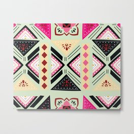 Vibrant Graphic Tile Pattern in Pink and Mint Green Metal Print