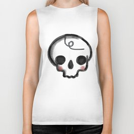 My Skully Friend - digital mixed media illustrated skeleton Biker Tank