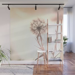 Pink Distant Dandelion Flower - Floral Nature Photography Art and Accessories Wall Mural