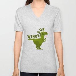 Winosaur Wine Drinking Dinosaur Unisex V-Neck