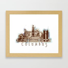 Columbus City, Ohio Skyline Graphic Framed Art Print