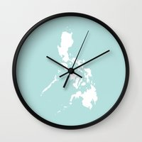 philippines Wall Clocks featuring PHILIPPINES by EDENLAND