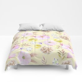 Modern hand painted pink lavender yellow watercolor floral Comforters